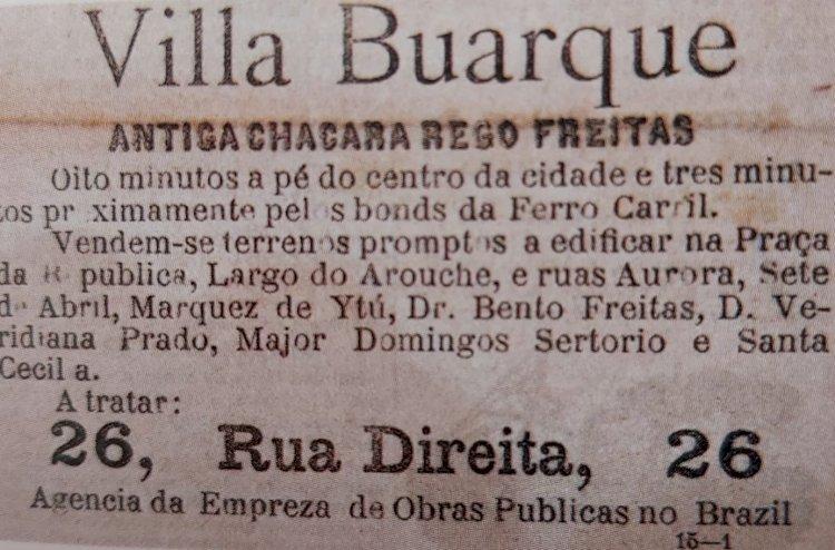 1890 - Anúncio de terrenos em mais um loteamento