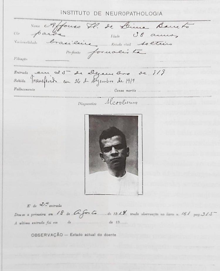 1919 - Ficha de internação do escritor Lima Barreto